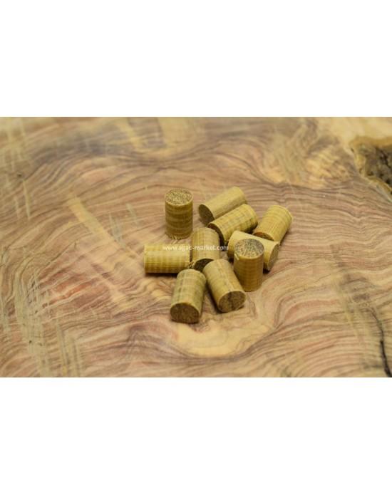 İroko Ağacı Koyu Desenli Tesbihlik Yuvarlanmış Yedek Taneler Paket